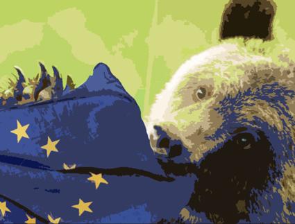 rysk björn äter eu-flagga